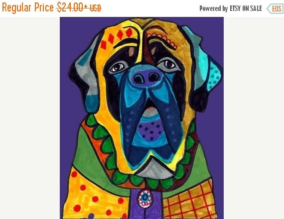 55% Off- Mastiff Art -  Dog Art Modern  Art Print Poster by Heather Galler (HG611)