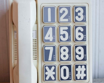 Vintage Large Number Telephone with Big Numbers Phone, 1990 1990s AT & T Desk Phone,
