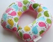 Child Travel Neck Pillow - Little Birdie Spring w/ Dark Pink Minky