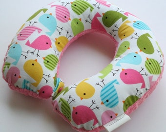Child Travel Neck Pillow - Little Birdie Spring w/ Dark Pink Minky