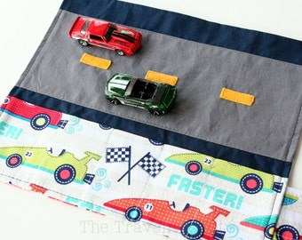 Car Caddy Roll Up w/ Road Play Mat - Race Cars - (Holds 5 Toy Cars) - Ready to Ship! (Car Wallet/Holder/Travel Matchbox Car Carrier)