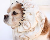 Gold Fleur de Lis Dog Snood, Cotton Long Ear Coverup, Cavalier King Charles or Cocker Snood