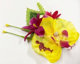 Yellow & Magenta Flamingo Orchid Tiki Hair Clip