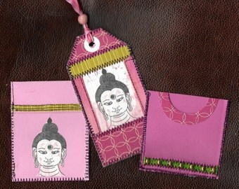 Buddha mixed media gift tag, pocket and library card pocket set,  planner, journal, scrapbooking,