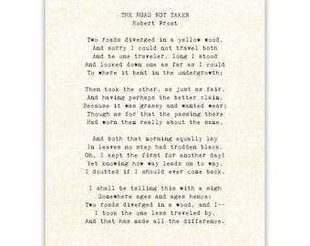 Robert Frost, Road Not Taken poem print, typography, graduation gift
