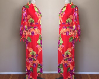 Vintage 1960s Psychedelic Tropical Print Maxi Dress • Floral Kaftan Tunic
