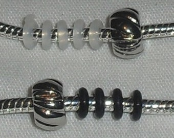 2-Silver Tone Carved Swirl Clip and Lock End Stopper Beads for European Bracelets