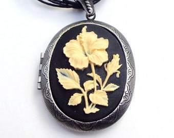 Large Cameo Locket Necklace, Ivory Hibiscus, Onyx Black, Resin Cameo, Gothic Style, Classic Pendent, Gunmetal Locket