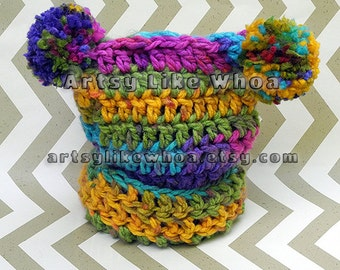 Rainbow Crochet Square Sack Hat, pom pom hat, Baby Hat Newborn to 6 months Infant, Crocheted Baby Hat, READY TO SHIP