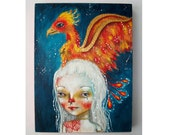 folk art Original girl painting Phoenix mixed media art painting on wood canvas 8x6 inches - Little Phoenix