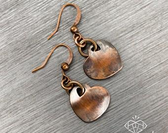 Heart Earrings, Love Earrings, Heart Jewelry, Copper Jewelry, Rustic Earrings, Rustic Jewelry, Vintage Look Earrings, Copper Heart Earrings