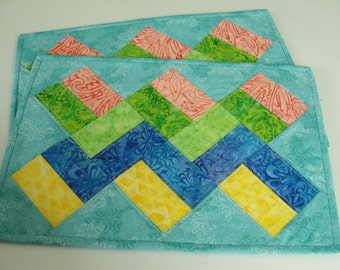 Quilted Chevron Patchwork Spring Easter Placemats - Set of 2 Quiltsy Handmade