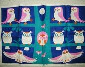SUPER Rare Mid Century Modern ULSTER Weavers OWL Vintage Linen Kitchen Tea Towel 1960s 1970s Owls Textile