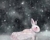 White Rabbit Abstract Animal Giclee Archival Art Print