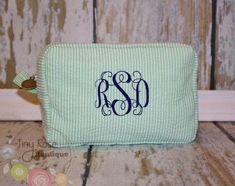 Monogrammed Green Seersucker Cosmetic Bag, Personalized Makeup Case - Bridesmaid, Wedding, Birthday, Graduation