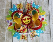 Colorful Emoji Bow Happy Face Bow Heart Bows Bottle Cap Bows Boutique Bow Layered Bow Baby Girls Hair Accessories