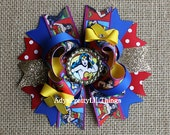 Wonder Woman Inspired Bow Super Hero Bottle Cap Bow Wonderwoman Bows Blue Stars Bow Girls Boutique Bow Baby Girls Hair Accessories A1