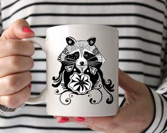 Raccoon Zentangle Drawing Coffee Mug