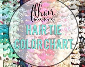 Color Chart for Flhair Hair Ties - 270+ colors to chose from No need to purchase this listing- shows color options for our hair ties only.