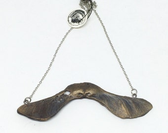 Bronze Cast Maple Seed on a silver Chain: large