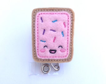 Badge Reel ID Holder Retractable - Kawaii Strawberry Toaster Pastry pink tan felt - nurse badge holder medical staff badge reel
