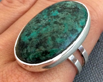 African Turquoise Ring in Sterling Silver, Large Turquoise Ring, Adjustable Turquoise Ring, Oval Turquoise Ring, Dark Turquoise Ring