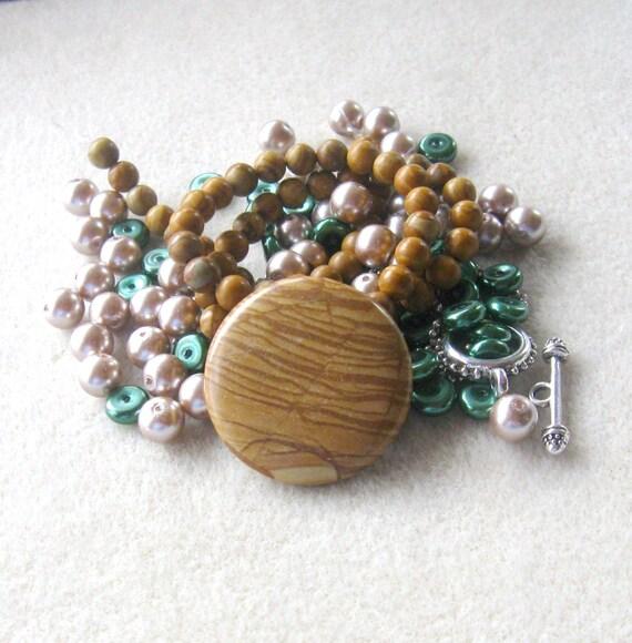 Wood Jasper Coin Pendant Scenic Jasper Beads Glass Pearls