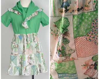 lime green Holly Hobbie print 70s vintage girls skirt set by Sears size 6 short sleeve tshirt and prairie skirt with head scarf