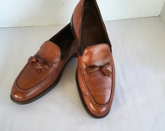 Vintage Brown Leather Men's Tassel Loafers Slip On Shoes French Shriner Size 10 US