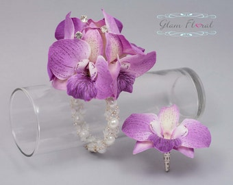 Lavender Orchid Wrist Corsage & Boutonniere Set . Real Touch Dendrobium Orchid Flowers with rhinestones