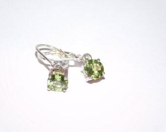 Vintage Green Peridot Sterling Silver Earrings