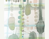 ON SALE Abstract Watercolor #28-Forest Green- Turquoise-Peach- Pale brown-Archival Paper
