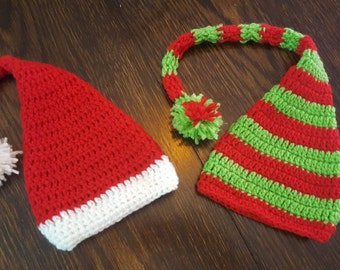 Baby Christmas Elf Hat, Baby crochet Santa hat, Newborn Christmas elf hat photo prop, Free Shipping