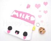 ON SALE Milk Zipper Pouch - Pencil Pouch, Pencil Case, School Supplies, Make Up Bag, 3DS Case, Phone Case, Coin Purse