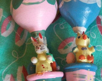 wooden hot air balloons and bunnies ornaments
