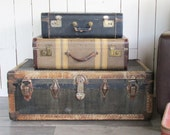 """1920s Butterfield Steamer Trunk - Foot Locker """"Great for Coffee Table, Storage, Decorating"""""""
