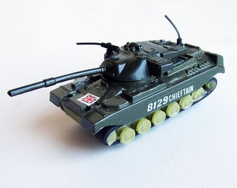 Vintage Die Cast Metal British Army Chieftain Tank