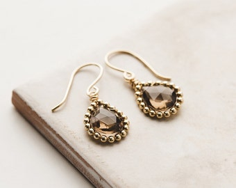 Smoky Quartz Beaded Drop Earrings