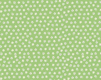 Riley Blake Lori Holt Calico Days Quilt Fabric Green White Daisy - By The 1/2Y