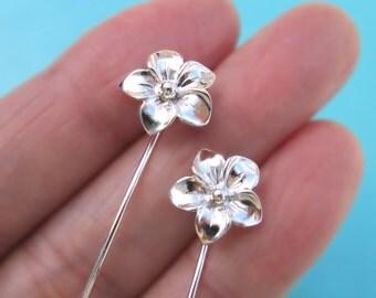 Plumeria flower earrings Long Stem Earrings, Plumeria earrings sterling silver earrings gift jewelry Dangle earrings stud earrings E-091