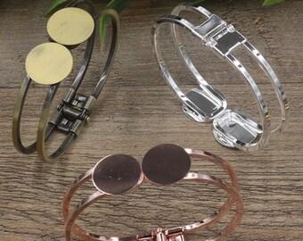 5 Blank Bangle Base- Brass Bronze/ Silver/ Gold/ Rose Gold/ White Gold/ Gun-Metal Plated Cuff Bracelet W/ Two 18mm Round Pad Setting- Z6085