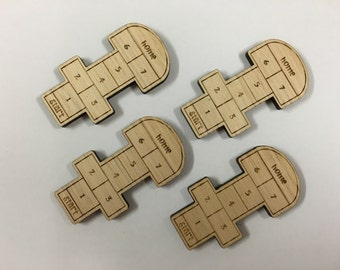 Hopscotch in Tasmanian Oak timber. Laser cut brooch supply - 4 pieces