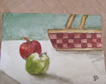 ACEO Original Watercolor Basket with Fruit in a Clear Plastic Display Frame