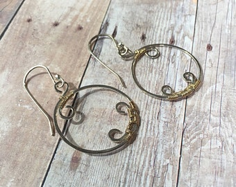 Sterling and Gold Hoop Earrings - Gold and Silver Earrings - Medium Hoop Earrings - Gift Idea For Mom