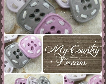 "Handmade Buttons ""Square Baby"" - polymer clay buttons - set of 6 pcs."