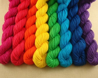 Mini Skeins Rainbow - Set of 8 - Hand Dyed Sport Weight Yarn - 100% Superwash Merino Wool