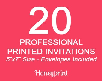 20 Printed Invitations with Envelopes Included, Professional Press Printing, US Shipping Included