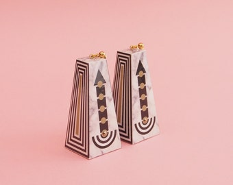"Geometric Earrings // Statement Earrings // Marble Earrings // Graphic Earrings // Op Art Earrings // Art Deco Earrings // The ""Going Up"""