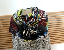 Multi Floral print rayon jersey shawl/scarf