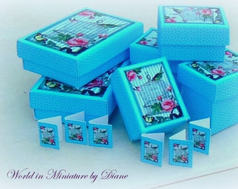 Dollhouse Tutorial Gift Boxes, Dollhouse Digital Download 1:12 Gift Boxes Kit, Blue Bird Cage Shabby Gift Boxes